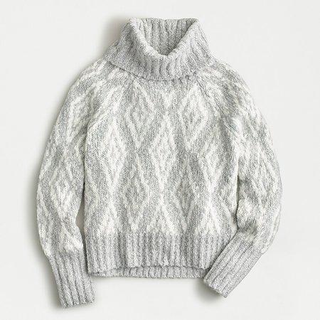 J.Crew: Chunky Alpaca Turtleneck Sweater In Fair Isle Diamonds grey