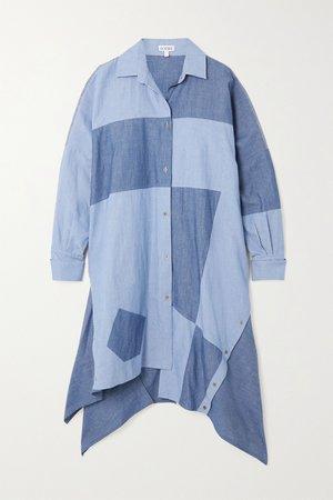 Blue Asymmetric patchwork cotton-chambray shirt dress | Loewe | NET-A-PORTER