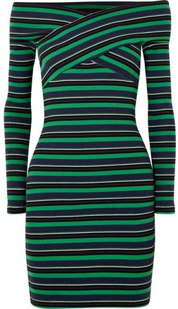 Off-the-shoulder Striped Ribbed Stretch-cotton Mini Dress - Green