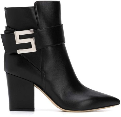 Logo Buckle Ankle Boots