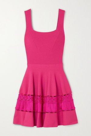 Pink Crochet-trimmed stretch-knit mini dress | Alexander McQueen | NET-A-PORTER