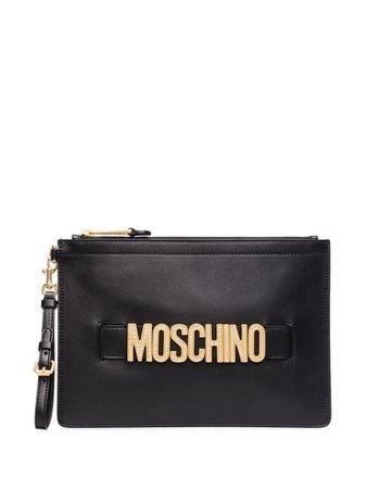 Moschino Logo-Embellished Leather Clutch Bag A84188002 Black   Farfetch