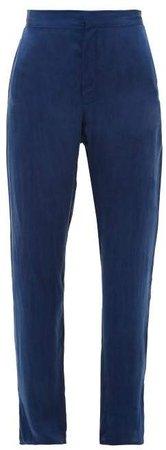 Worme - Straight Leg Silk Trousers - Womens - Dark Blue