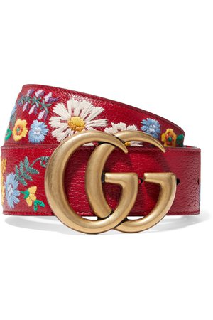 Gucci   Embroidered textured-leather belt   NET-A-PORTER.COM