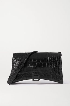 Black Hourglass croc-effect leather shoulder bag | Balenciaga | NET-A-PORTER