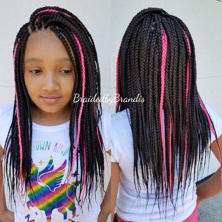 pink nd black braids
