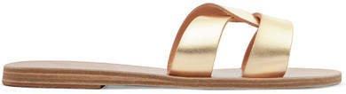 Desmos Cutout Metallic Leather Sandals - Gold