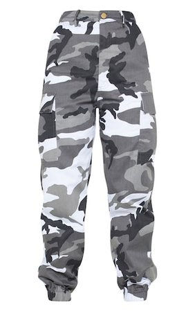 Petite Grey Camo Printed Cargo Trousers   PrettyLittleThing