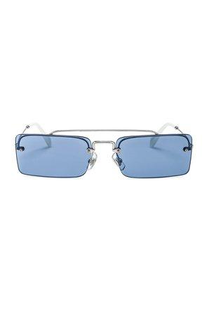 Miu Miu Skinny Square Sunglasses in Silver & Light Blue | FWRD