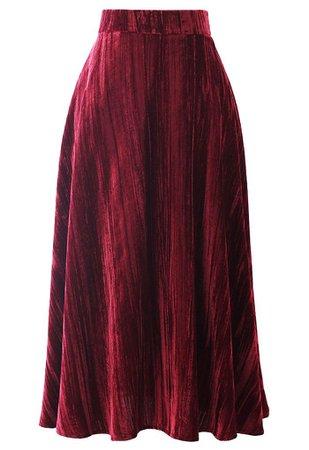 Velvet Flare Hem Midi Skirt in Wine - Retro, Indie and Unique Fashion