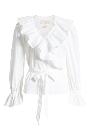 Rachel Parcell Ruffle Wrap Top (Nordstrom Exclusive) white
