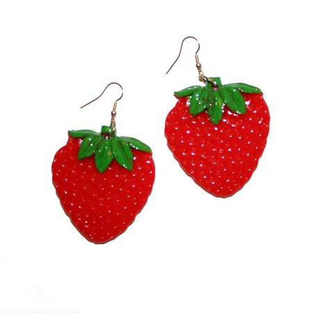 Huge Strawberry Earrings - Fruit Earrings Tropical Hawaii Vacation Fun Fruity Carmen Miranda strawberries earrings large drag earrings