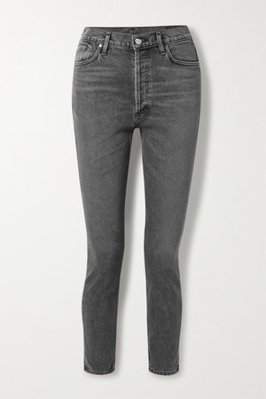 grey high-rise slim-leg jeans | GOLDSIGN |