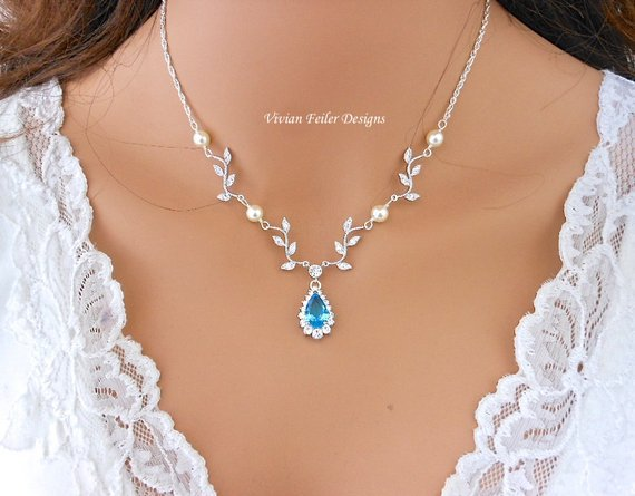 Wedding Necklace VINE AQUA Teal Y Bridal Jewelry White or Ivory PEARLS with or without Backdrop