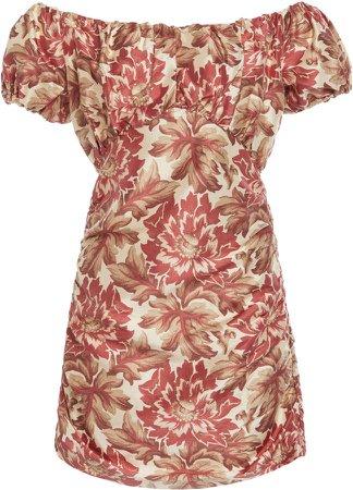 Sir The Label Valetta Silk Off Shoulder Mini Dress