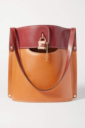 Aby Two-tone Leather Tote - Brown