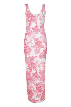 Large Scale Floral Maxi Dress | boohoo pink