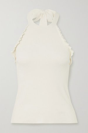 See By Chloé | Ruffled knitted halterneck top | NET-A-PORTER.COM