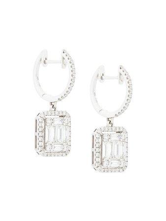 GEMCO 18kt white gold square cut diamond drop earrings
