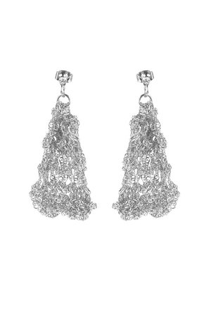 Hand Crocheted Silver Plated Statement Earrings