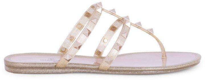 Rockstud Glitter PVC Thong Sandals