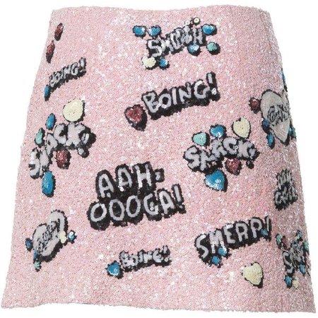 sequin kissing mini skirt