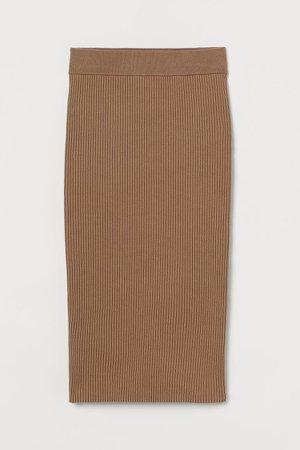 Rib-knit Skirt - Beige