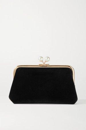Maud Faux Pearl-embellished Velvet Clutch - Black
