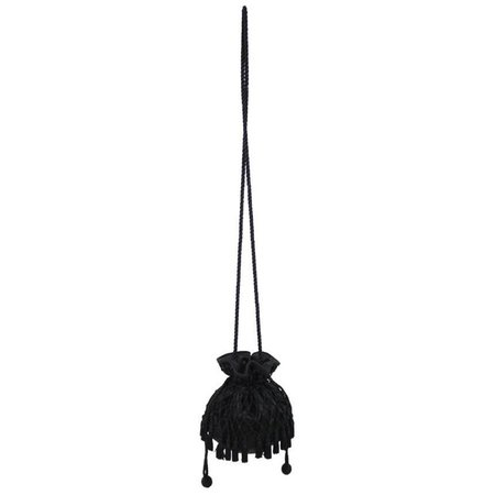 1980s Lord and Taylor Black Satin Tassel Drawstring Purse Crossbody Shoulder Bag For Sale at 1stdibs