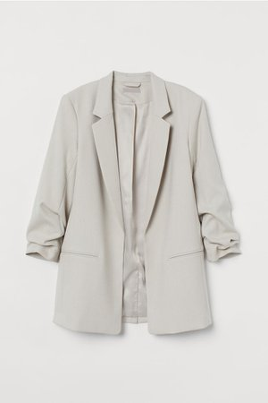 Jacket with Gathered Sleeves - Light beige - Ladies | H&M US
