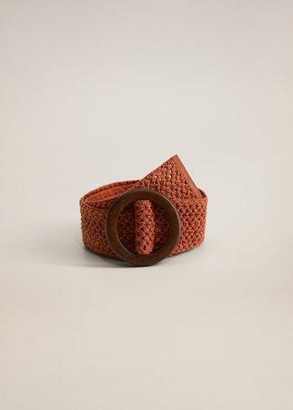 Wood buckle belt - Woman   Mango Bulgaria