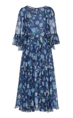 Luisa Beccaria Floral Midi Dress