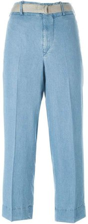 belted chambray trousers