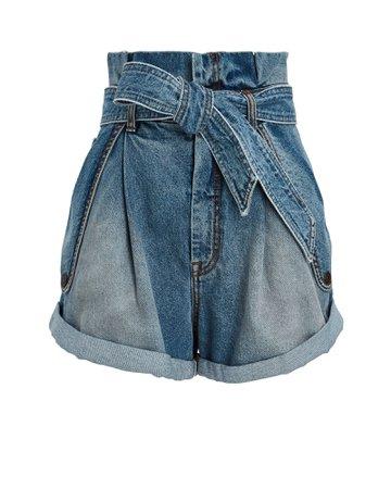 Zimmermann Vintage Stone Denim Paperbag Shorts | INTERMIX®