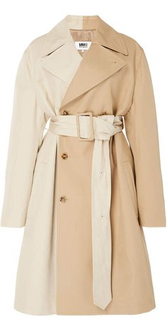 Belted Two-Tone Cotton Trench Coat