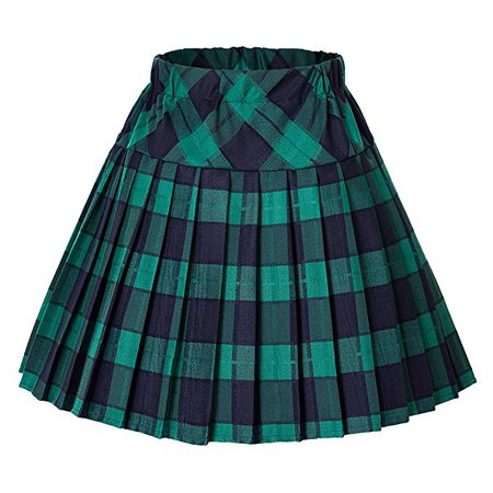 Urban CoCo Women's Elastic Waist Tartan Pleated School Skirt at Amazon Women's Clothing store: