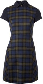 WornOnTV: Clara's blue plaid collared dress and burgundy wedges on Doctor Who | Jenna Coleman | Clothes and Wardrobe from TV