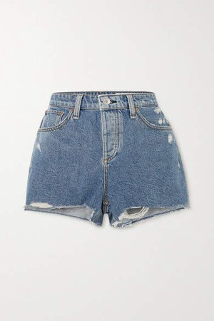 Dre Distressed Denim Shorts - Mid denim