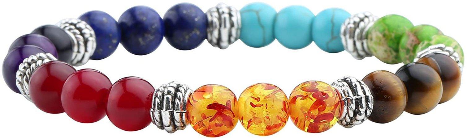 Amazon.com: Jovivi 7 Chakras Bracelet Reiki Healing Balancing Round Beads: Jewelry