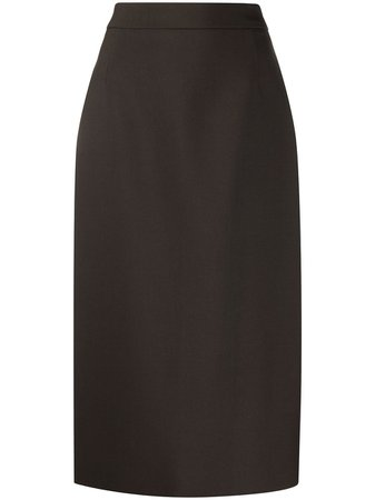Brown Prada virgin wool tailored pencil skirt with back slit - Farfetch
