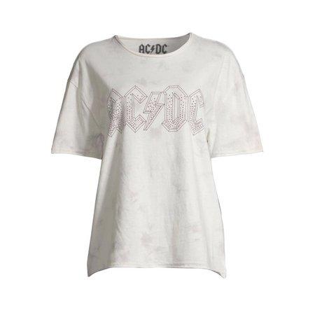 Grey Scoop - Scoop Women's AC/DC Distressed Crewneck Foil Graphic T-Shirt - Walmart.com - Walmart.com