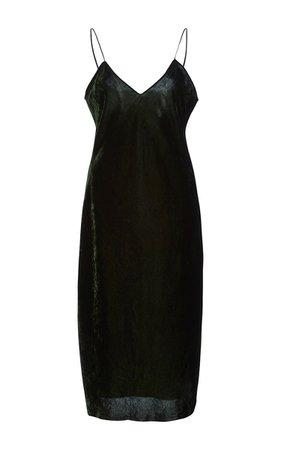 NILI LOTAN Short Green Velvet Cami Dress
