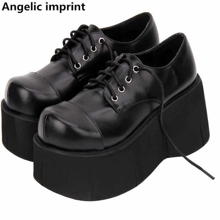 Angelic imprint woman mori girl lolita Gothic cosplay punk shoes lady high heels wedges Pumps women princess dress party shoes
