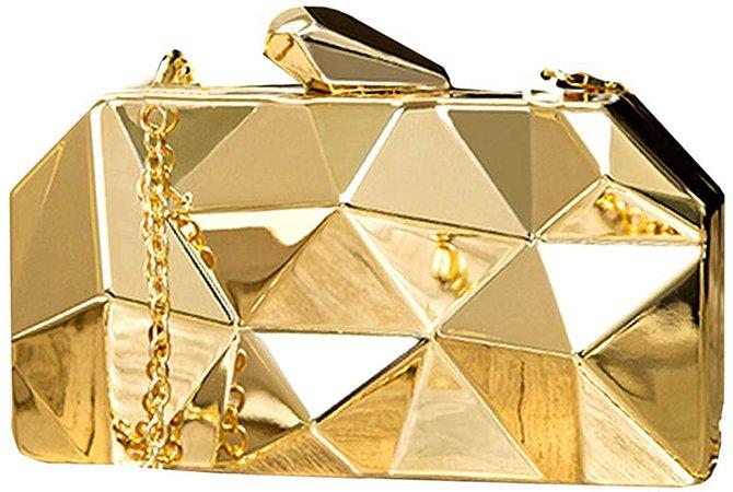 Reberomantic Goodbag Women Lattice Pattern Metal Handbag Chain Geometric Evening Clutch, Gold: Handbags: Amazon.com