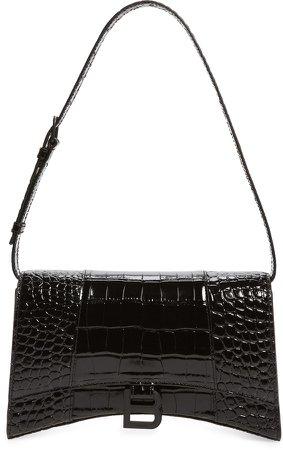 Hour Croc Embossed Leather Shoulder Bag