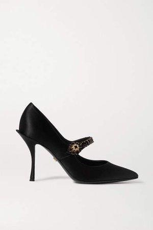 Crystal-embellished Satin Mary Jane Pumps - Black