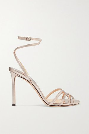 Mimi 100 Metallic Leather Sandals - Platinum