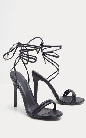 Black Strappy Leg Tie Heeled Sandal   Shoes   PrettyLittleThing USA