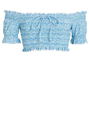 Jonathan Simkhai Chloé Smocked Bikini Top   INTERMIX®
