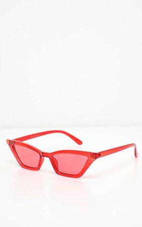 Red Narrow Slim Angular Cat Eye Sunglasses | PrettyLittleThing